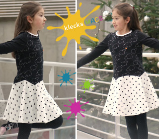 PDF Sewing Pattern for Girls' Dress with Straight or Trumpet Sleeves - *Bluebell* by klecksMACS