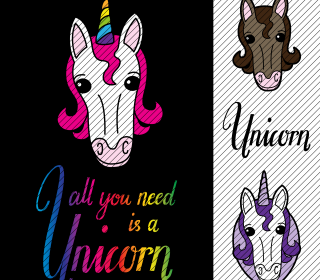 Plotterdatei »All you need is a Unicorn« (4er Set)