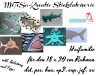 MiToSa-Kreativ Stickdateiserie Doodleapplikation Haifamilie 18x30cm