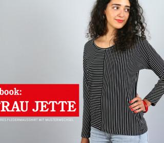 eBook Frau JETTE  - Fledermausshirt mit Musterwechsel und Beuteltasche XS - L