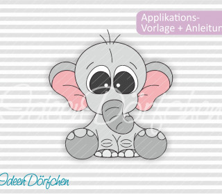 Applikationsvorlage Elefant Flori eBook
