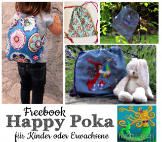 FREEBOOK Happy Poka Rucksackbeutel Kinder + Erwachsene Happy Pearl