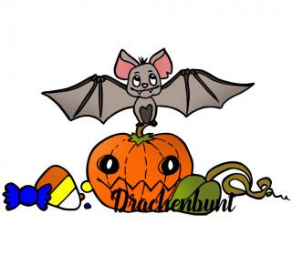 Plotterdatei Fledermaus auf Kürbis Halloween mit Süßigkeiten