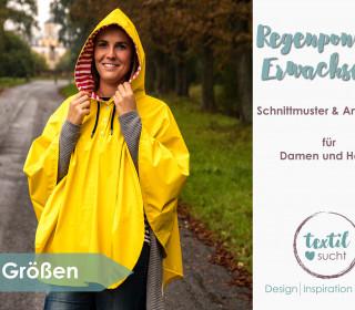 Regenponcho für Erwachsene - Schnittmuster und Nähanleitung
