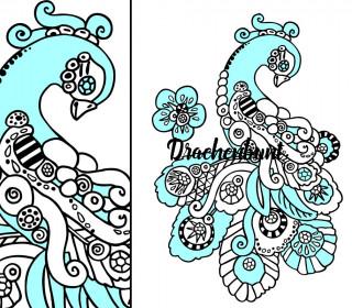 Plotterdatei Pfau Vogel Phönix für Erwachsene Damen filigranes Muster