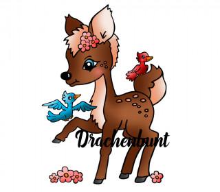 Plotterdatei Rehkitz mit Blumen und Vögeln Freundschaft für Mädchen