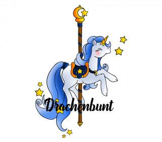 Plotterdatei Einhorn Karussellpferd mit Sternen Traum verträumt