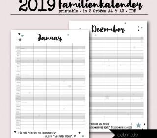 Familienkalender 2019 - Druckdatei - der hübsche mit Platz für die ganze Familie. / delari