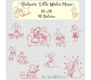 Digitale Stickserie Little Winter Mouse 10x10 (4x4
