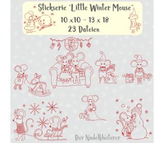 Digitale Stickserie Little Winter Mouse 10x10 - 13x18 cm (4x4 - 5x7