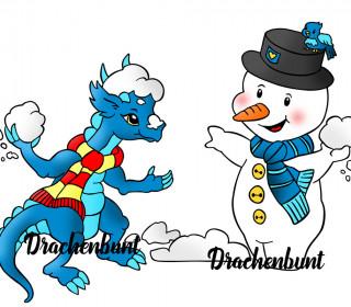 Plotterdatei Set Drache und Schneemann Schneeballschlacht Winter