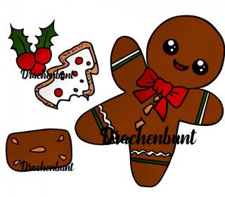 Plotterdatei Lebkuchenmann Weihnachten Winter Plätzchen Süßigkeit