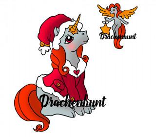 Plotterdatei Weihnachtsmann Einhorn mit Pony Pegasus Engel