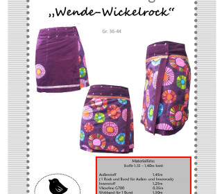 Nähanleitung und Schnittmuster Wendewickelrock