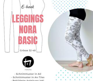 Leggings Nora Basic Gr. 32-48 / Digitale Nähanleitung inkl. Schnitt in A0 und A4