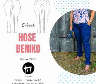 Hose Beniko Gr. 32-50 / Digitale Nähanleitung inkl. Schnittmuster in A0 und A4