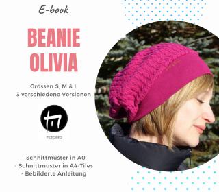 Beanie Olivia Gr. S, M & L / Digitale Nähanleitung inkl. Schnittmuster in A4 u. A0