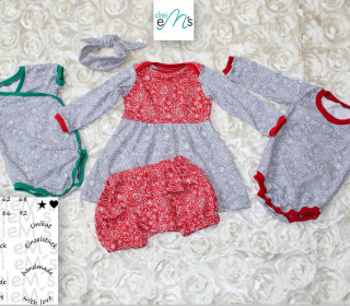 Newborn LOU SET Bodys,Kleid,kurze Hose, Haarband  Gr. 50-92 + gratis Plott-Datei