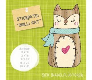 Digitale Stickdatei Chilli Cat 10x10 - 20x30 cm (4x4 - 8x12