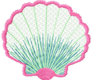 MiToSa-Kreativ Stickdatei Muschel für Stickfolie 10 x 10 cm