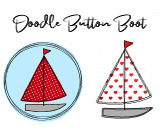 Stickdatei Doodle Button Boot - Rahmen ab 10 cm x 10 cm, embroidery, stick file, button, doodle, application, Segelboot, sailboat