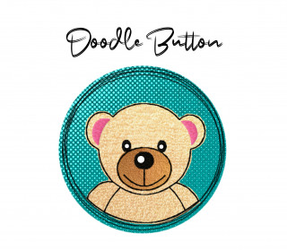 Stickdatei Doodle Button Bär - Rahmen ab 10 cm x 10 cm, embroidery, stick file, button, doodle, application, bear, teddy
