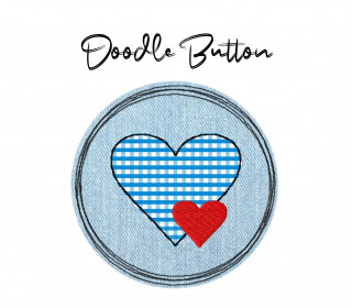 Stickdatei Doodle Button Herz - Rahmen ab 10 cm x 10 cm, embroidery, stick file, button, doodle, application, heart