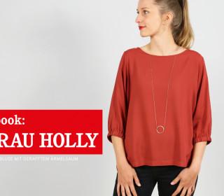 e-book FRAU HOLLY -  weite Bluse mit Gummi im Ärmelsaum XS-XXL