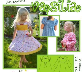 VASILIA Festkleid 74-164 Drehkleid mit Puffärmeln oder langarm - olilu