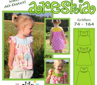 ARESKIA Bluse/Kleid 74-164 süßes Kleidchen mit Puffärmeln oder langarm - olilu