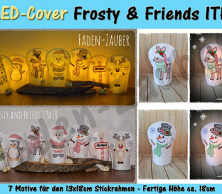 LED Kerzen-Cover Frosty & Friends 13x18 Rahmen