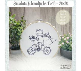Digitale Stickdatei Fahrradfuchs  13x18 - 20x30 cm (5x7 - 8x12