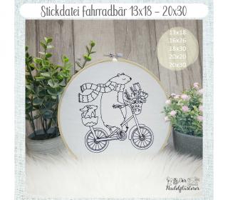 Digitale Stickdatei Fahrradbär  13x18 - 20x30 cm (5x7 - 8x12