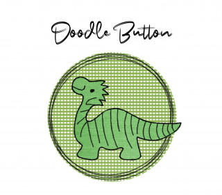 Stickdatei Doodle Button Dino - Rahmen ab 10 cm x 10 cm, Applikation, Dinosaurier, Button, Aufnäher, sticken, Stickmuster