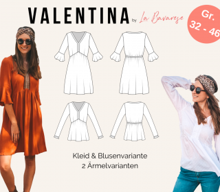 Boho-Kleid & Bluse VALENTINA, PDF Damen Schnittmuster, Gr. 32 - 46
