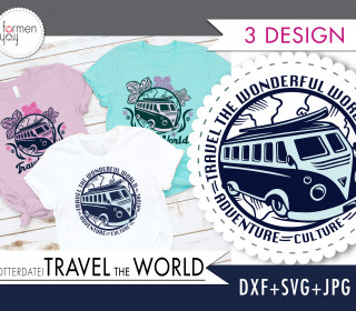 Einführungspreis: Plotterdatei - TRAVEL the WORLD - Retro - Bus - Design von formenfroh - dxf + svg + jpg