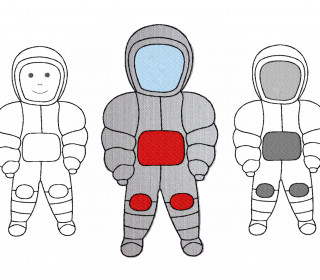 Stickdatei Astronaut 2 Größen und 2 Varianten, Applikation, Redwork, Weltall, Weltraum
