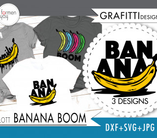 Einführungspreis: Plotterdatei - BANANA BOOM - Grafitti Pop Art - Design von formenfroh - dxf + svg + jpg