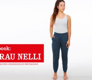 e-book FRAU NELLI - knöchelfreie Jogginghose mit breitem Bund XS-XXL