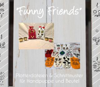 Funny Friends Plotterdatei Tiere inkl. Schnittmuster für Handpuppe & Beutel