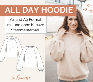 All Day Hoodie PDF Schnittmuster, Gr. 32-50