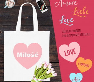 FREEBIE / GÖNNIE - AMORE - Liebe - International - 15 Sprachen - Siebdruck Vorlagen - Spendendatei