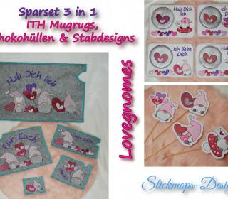 Stickdatei Set Lovegnomes Sparset 3 in 1 mit Dateien für Schokohüllen, Mugrugs und Stabdesigns
