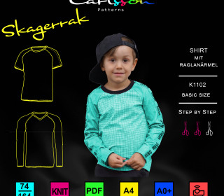 SKAGERRAK K1102 RaglanShirt -Kinder 74-164 Carlsson Patterns