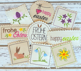 Stickdatei Label Ostern 9 Motive