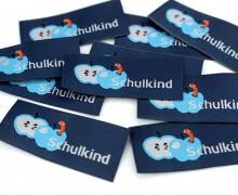 10 fertige Schulkind Label - Apfel - Wurm - Dunkel Blau