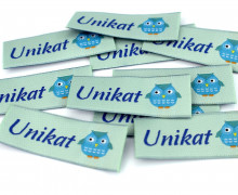 10 fertige Label - Unikat - Eule - Grüngrau