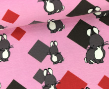 Jersey - Hase - Quadrate - Rosa