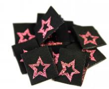 10 Label - Sterne - Star - Schwarz/Pink