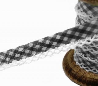1m Schrägband - Häkelborte - Vichy - Schwarz/Grau